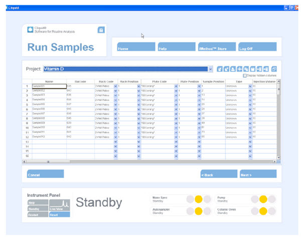 Figure 3. Cliquid® mass spectrometer control software.