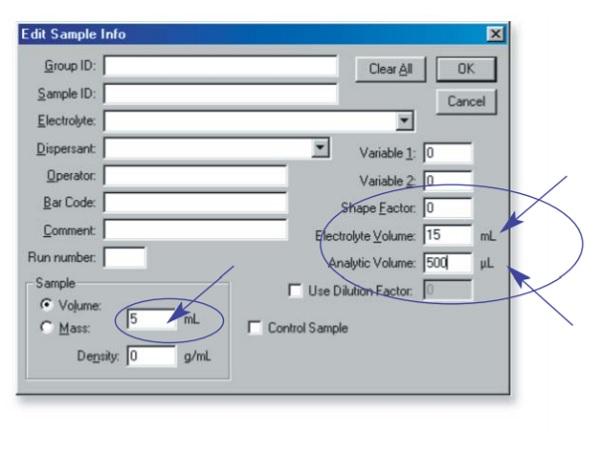 Entering sample information in the Multisizer 3 Software