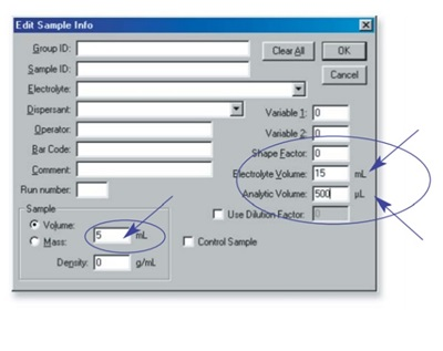 Entering sample information in the Multisizer 3 Software