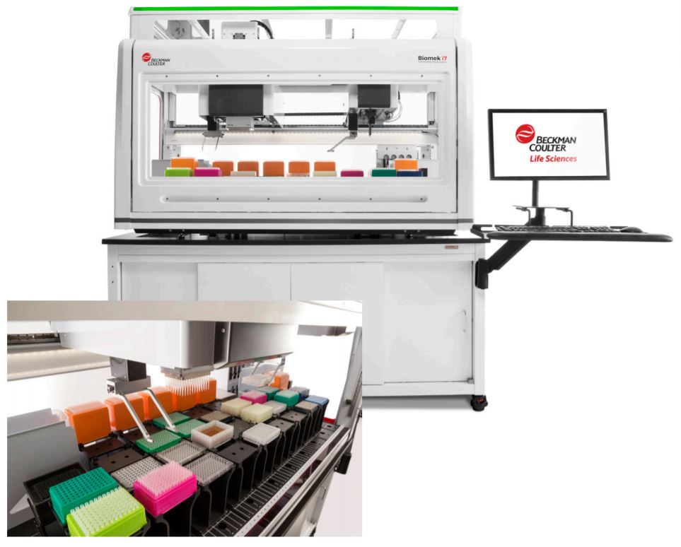 Biomek i7 Hybrid Genomics Workstation with optional enclosure on a Biomek Cart. Large Deck capacity to increase walk away time.