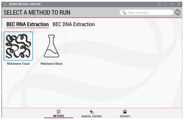 Figure 2. Biomek Method Launcher provided an easy interface to start the method