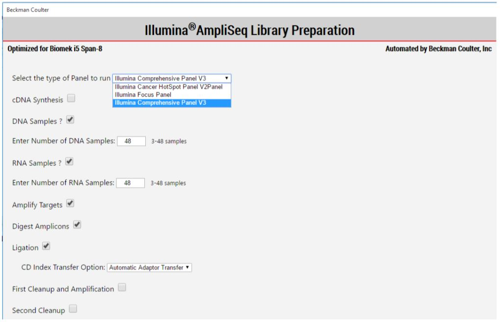 Figure 4. AmpliSeq for Illumina Method Options Selector enables one to select DNA and/or RNA to run, batch size and other processing options.