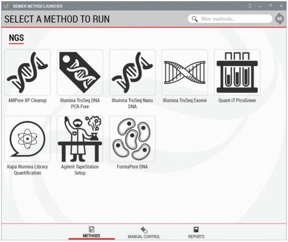 Figure 2. Biomek Method Launcher provided an easy interface to start the method