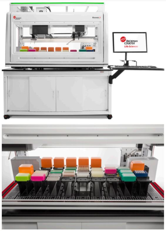 Figure 1. Biomek i7 Hybrid Genomics Workstation with optional Enclosure on a Biomek Mobile Workstation. Deck layout in the lower image.