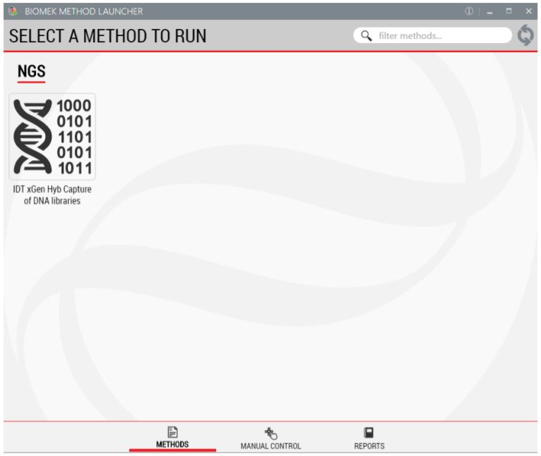 Figure 3. Biomek Method Launcher provides a straight-forward interface to launch the method
