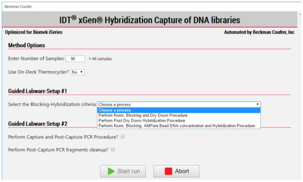Figure 4. IDT xGen Hyb Capture of DNA libraries Method Options Selector