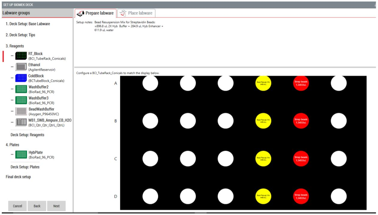 Figure 5. Guided Labware Setup indicates reagent volumes, recipe notes and guides the user for correct deck setup