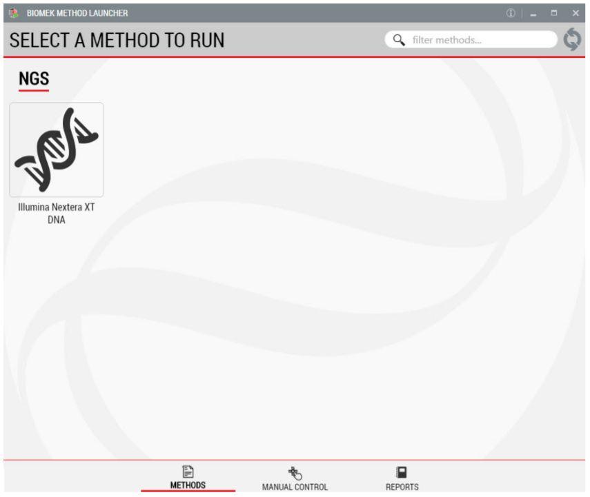 Figure 2. Biomek Method Launcher provided an easy interface to start the method.