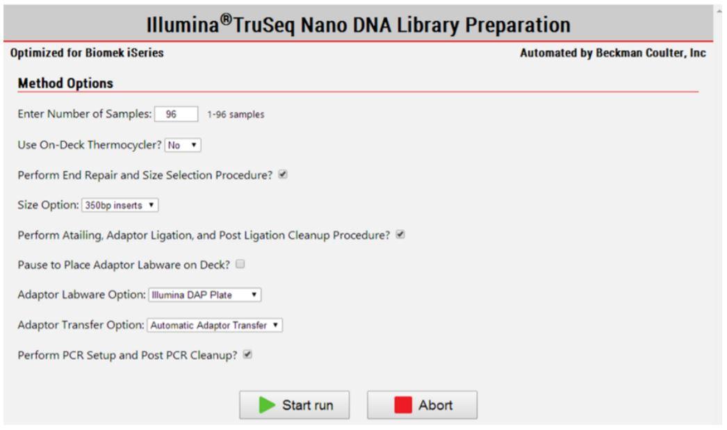 Figure 3. Biomek Method Options Selector indicate sample number and processing options