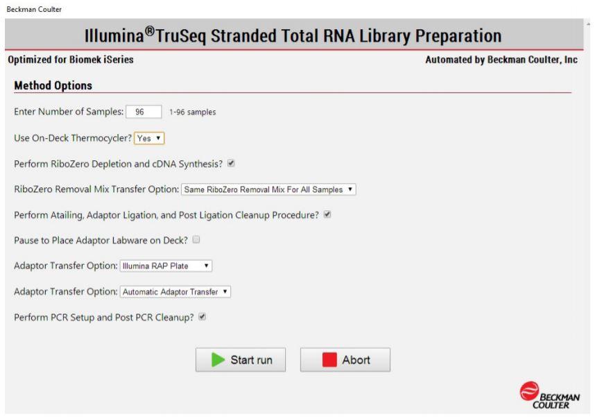 Figure 3. Biomek Method Options Selector indicates sample number and processing options