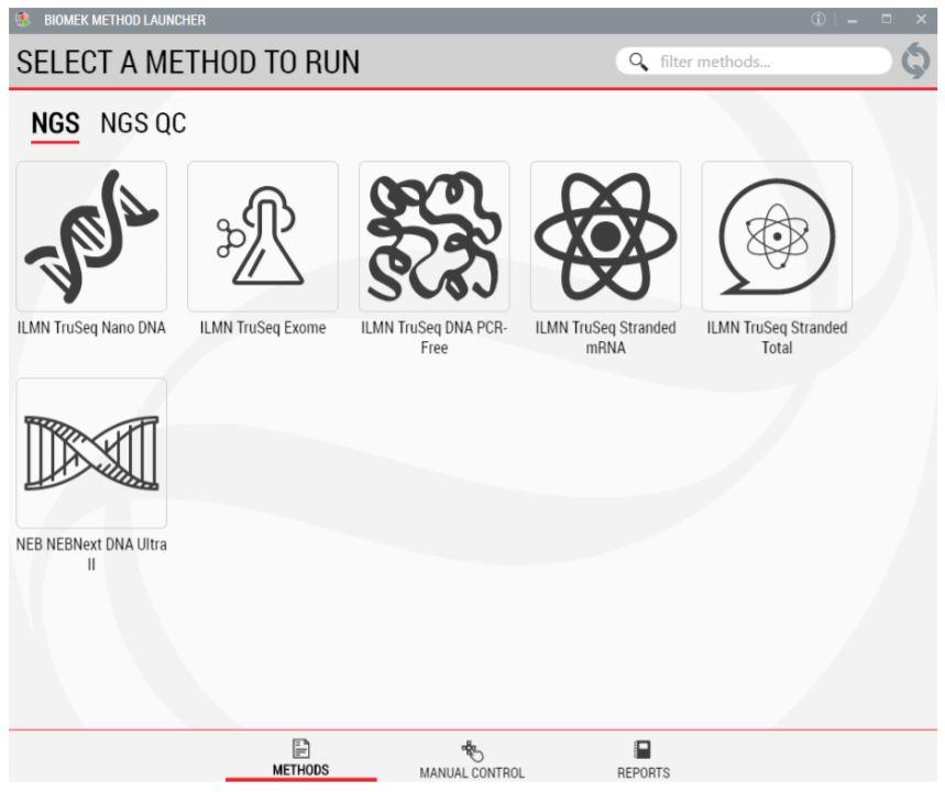 Figure 2. Biomek Method Launcher provides an easy interface to start the method