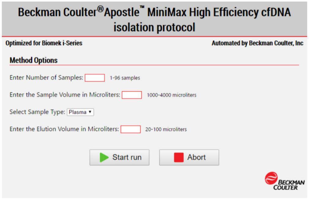Figure 4. Biomek Method Options Selector indicates sample number and processing options
