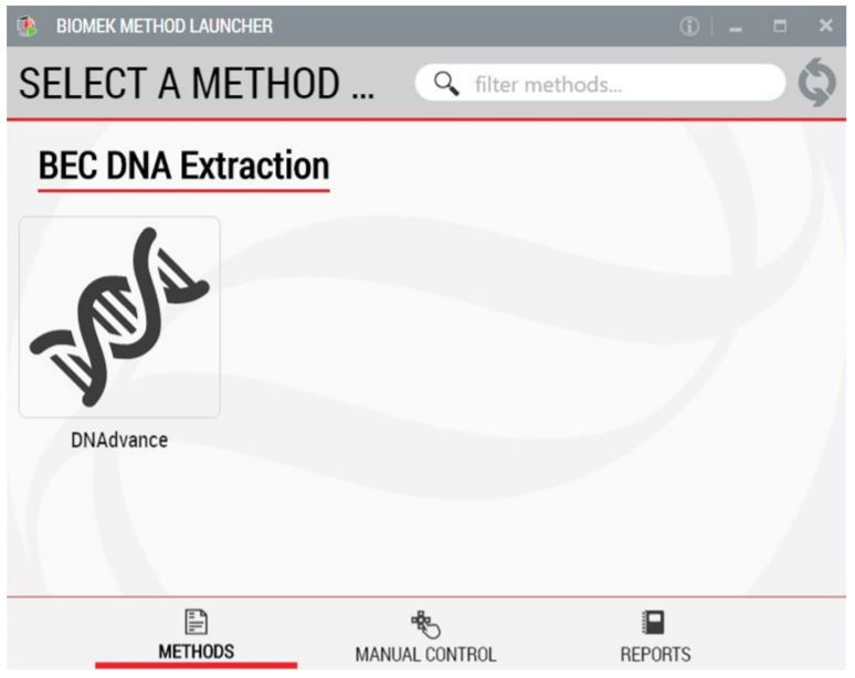 Figure 2. Biomek Method Launcher provides an easy interface to start the method