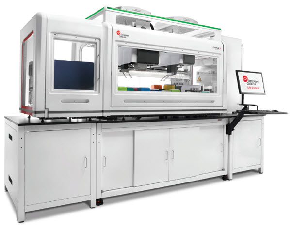 Figure 1. The Biomek i7 Workstation, along with various integrated devices, was used to automate a cell line development workflow.