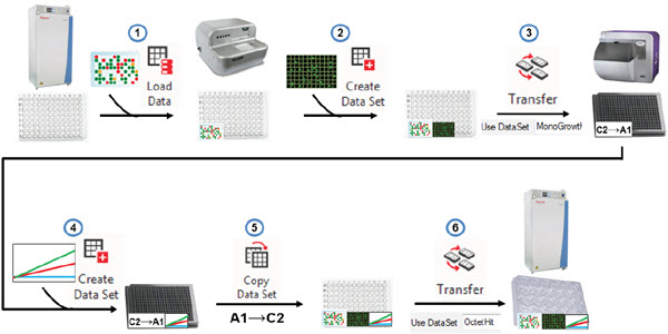 Figure 5. Automated data handling. Biomek and DART software can combine to retrieve previous data, add new assay data to plates, drive reformatting transfer steps, copy assay data back to the source wells, to ensure the proper hits are brought forward.