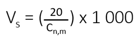 Establishing minimum sample air volume formula
