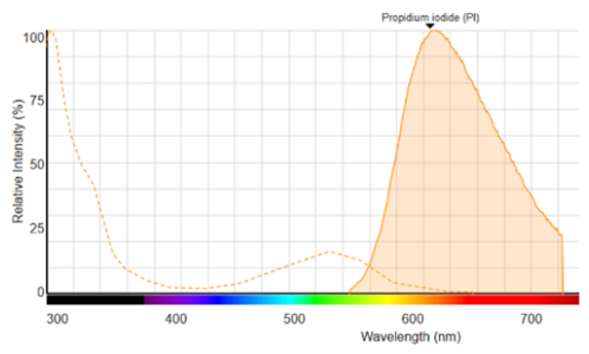 Figure 1: Fluorescence spectrum of PI bound to DNA