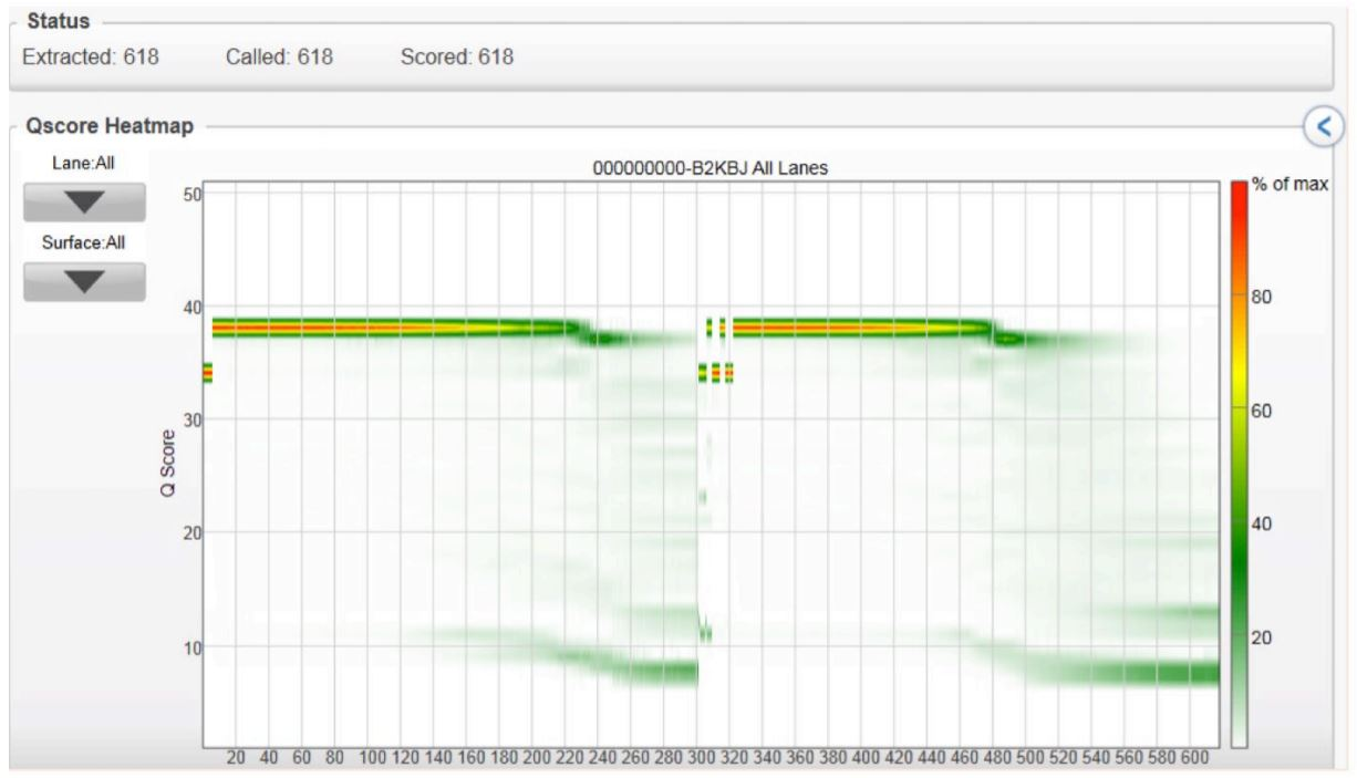 FIGURE 3: Quality read scores per cycle of the volume-multiplexed MiSeq run, demonstrating that various reaction volumes can be run together and produce quality scores similar to conventional 2x300 genomic runs.
