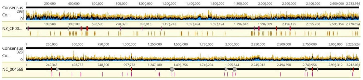 FIGURE 7: Coverage graphs of a) Staphylococcus aureus and b) Enterococcus faecalis, representative samples