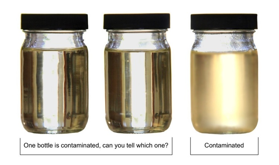 A) Una botella está contaminada, ¿puede decir cuál? B) Contaminada.
