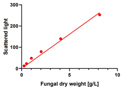 Figure 4: Calibration of cell dry weight and scattered light for T. reesei RUT-C30 RFP1 grown on PIPPS buffered medium containing 30 g/L cellulose