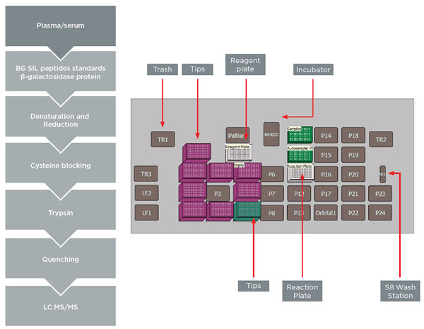 Figure 2. Proteomic sample preparation steps are outlined (left) and the deck layout of the i7 hybrid workstation
