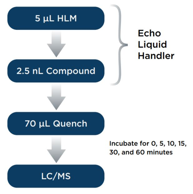 Figure 1. Assay scheme for the miniaturized metabolic stability assay. 5 μL HLM and 2.5 nL compound were transferred with Echo 525 Liquid Handler and the Echo 555 Liquid Handler, respectively.