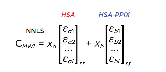 Equation 1. Non-negative least squares of the multi-wavelength dataset by decomposing wavelength profiles into 2 basis vectors representing the intrinsic absorbance spectra of HSA and HSA-PPIX-Sn