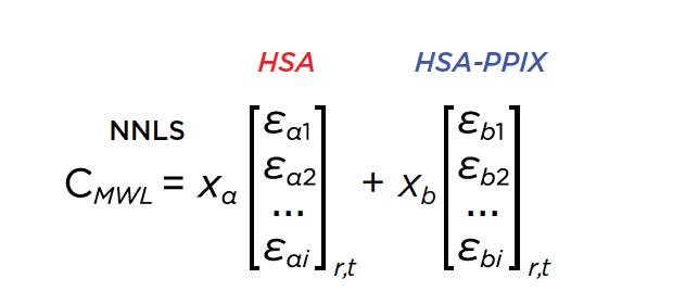Ecuación 1. Cuadrados mínimos no negativos del conjunto de datos de múltiples longitudes de onda mediante la descomposición de los perfiles de las longitudes de onda en 2 vectores básicos que representan los espectros de absorbancia intrínseca de HSA y HSA-PPIX-Sn