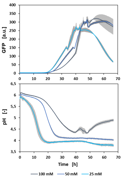 Figure 1: Batch cultivation of H. polymorpha RB11 FMD-GFP with online measurements of GFP and pH. Biological triplicates were cultivated at 1200 rpm in a FlowerPlate®. The mean values (blue line) with the standard deviation (grey area) were plotted against the cultivation time.