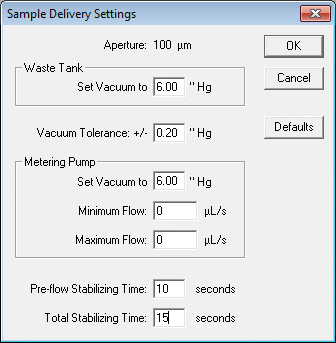 Sample delivery settings screen