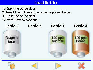 loading bottles screen in the anatel pat700