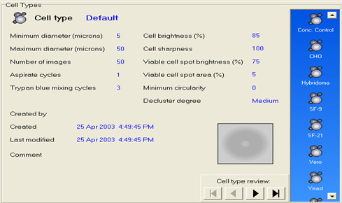 Automated Vi-CELL XR cell counting SOP library software screen