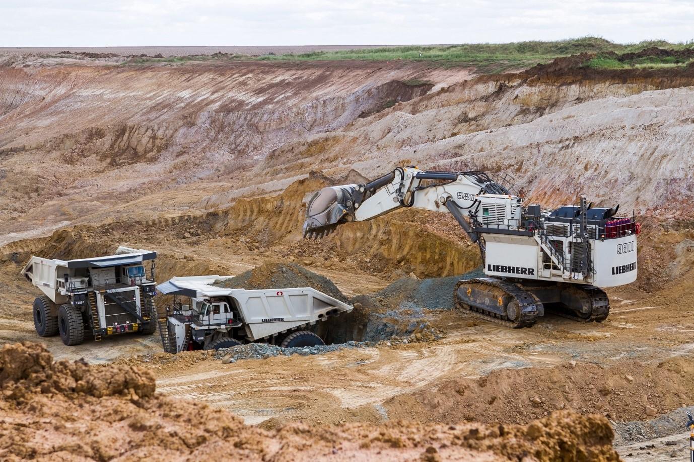Liebherr R9800 Excavator and dump trucks for mining