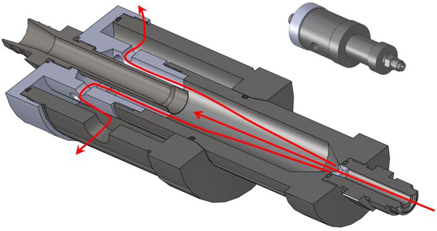 Vista en sección lateral del difusor de alta presión, o HPD, MET ONE que muestra la trayectoria del flujo a la entrada del muestreo isocinético y el escape