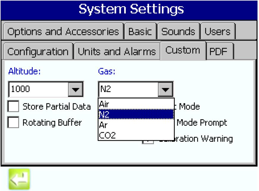 Selección del gas que se va a monitorizar mediante una sencilla lista desplegable en la interfaz de usuario del MET ONE 3400