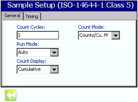 Setting the sampling parameters in the MET ONE 3400