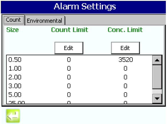 Setting the alarm limits per ISO 14644 in the MET ONE 3400