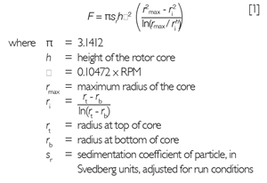 The nomograms have been generated from the following equations, which may be used for determining an approximate flow rate, F, or rotor speed for specific samples.
