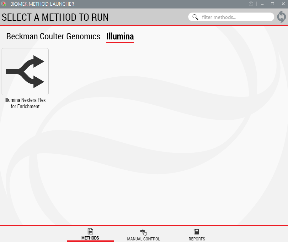 Figure 3. Biomek Method Launcher provides an easy interface to launch the method.