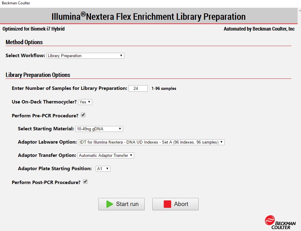 Figure 4. Biomek Method Options Selector enables user to select the desired workflow, sample number, and a variety of workflow customization options.