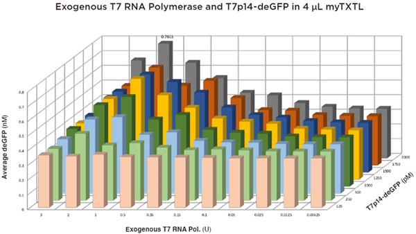 FIGURE 7: Multi-variable titration of the T7p14-deGFP plasmid and exogenous T7 RNA polymerase into 4 μL myTXTL reactions after 2.3 h of incubation. Concentrations of produced deGFP calculated from the protein specific fluorescence signal which was acquired on a BMG Labtech PHERAstar FS (λEx = 485nm, λEm = 520 nm) are displayed. Each point was done in quadruplicate and the curve had an average percent CV of 14.8%. The GFP production at 1 unit of T7 RNA polymerase was higher than additional amounts of added enzyme. Peak production was found to be at 1 Unit of T7 RNA polymerase and 2000 pM T7p14-deGFP plasmid at 0.78 nM deGFP.