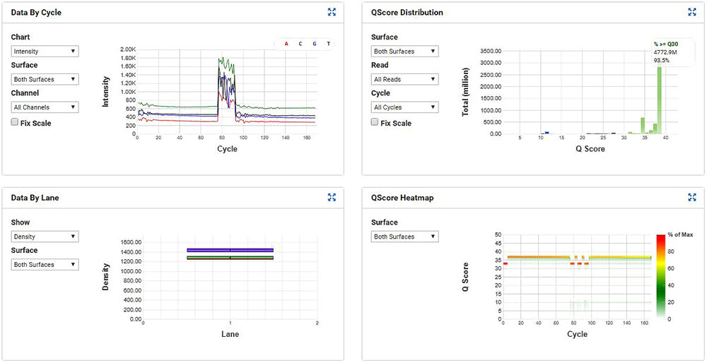 Figure 7. MiSeq run metrics of the SMART-Seq v2 samples that were processed through miniaturized Nextera XT.