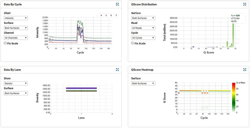 Figure 7. MiSeq run metrics of the SMART-Seq v2 samples that were processed through miniaturized Nextera XT.