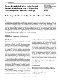 Smart DNA Fabrication Using Sound Waves: Applying Acoustic Dispensing Technologies to Synthetic Biology