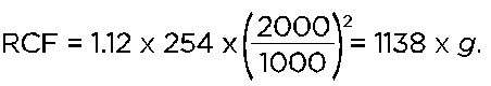 Maximum RCF Calculation with lower RPM