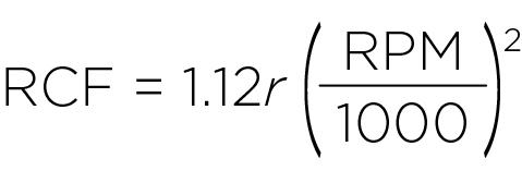 Формула для расчета относительного центробежного ускорения (RCF)