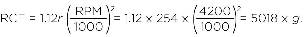 Расчет относительного центробежного ускорения (RCF) дл ротора JS-4.2 (4200 об/мин)