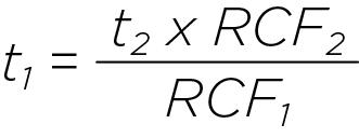 Формула для расчета времени центрифугирования