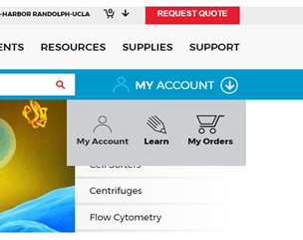 My Account Dashboard at beckman.com